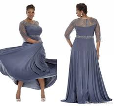 gray plus size special occasion dresses 2017 sheer sleeves evening