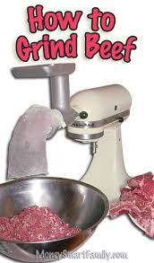 White Kitchenaid Mixer With A Meat Grinding Attachment On Top And Silver Bowl Full Of