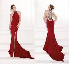 luxury tarik ediz 2015 red halter prom dress vestidos de noiva