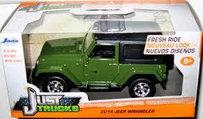 100 Top Trucks Of 2014 JADA JUST TRUCKS 132 SCALE DARK GREEN BLACK TOP JEEP WRANGLER DIECAST