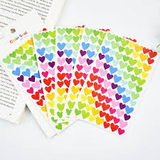 6 Pcs Lot DIY Cute Kawaii Colorful Paper Heart Decorative Adhesive Stickers For Home Decoration