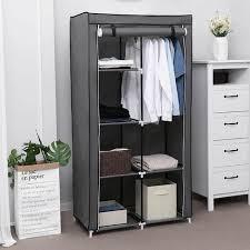 kleiderschrank stoffschrank faltschrank mit 2 kleiderstange belastbar bis 25 kg 7 montagearten 88 x 45 x 170cm ideal für wohnzimmer schlafzimmer