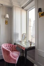 Pink Velvet Tufted Vanity Chair Transitional Closet Vella