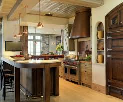 KitchenGleaming Traditional Kitchen Design Idea With Big Island Also Cabinets To Ceiling Earthy