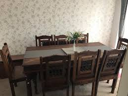Dark Wooden Dining Room Table 8 Chairs In Liverpool Merseyside