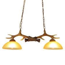 2 Lamps Antlers Kitchen Island Pendant Lights Chandeliers Double RH Antique Ceiling Lights Dining Decoration Island Light Vintage Antler Hanging Lamp