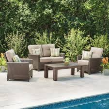 Outdoor Resin Patio Furniture Conversation Set Clearance Wicker Patio Conversation Set 4 Piece Conversation Set