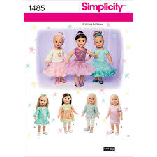 Simplicity Pattern 1485OS One Size Crafts Doll Clothes American