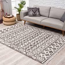 teppich hochflor wohnzimmer ethno boho stil 80x200 cm grau