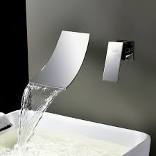 Wall Mounted Waterfall Faucets For Bathroom Sinks by Junoshowers Sink Faucet Contemporary Wall Mounted Waterfall