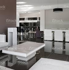 moderne einrichtung mit großem tisch stühlen und wohnzimmer stockfoto und mehr bilder arbeitszimmer