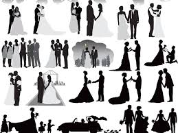 Wedding Party Silhouettes Clip Art