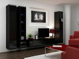details zu wohnwand lucas 2 tv wand schrankwand hängwand hängend hochglanz wohnzimmer set