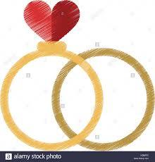 drawing two romance rings love heart wedding symbol