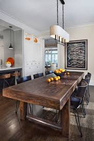 Modern Dining Room Rustic Table Solid Wood Chandelier Hardwood Flooring