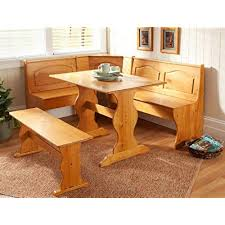 Essential Home Emily Breakfast Nook Kitchen Solid Wood Corner Dining Set Table Bench Chair Booth