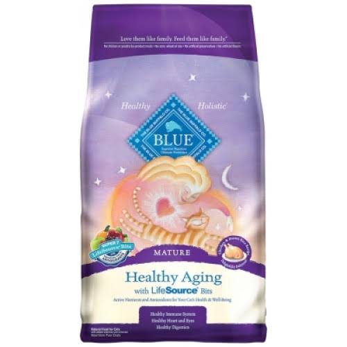 Blue Buffalo Healthy Aging Dry Cat Food - Chicken and Brown Rice, 7lbs