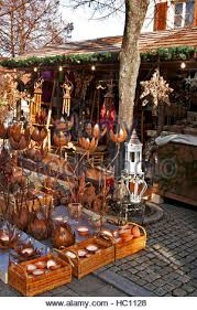 Christmas Craft Market At Ludwigsberg Germany A Wooden Craftsmans Booth Selling Holiday Decorations