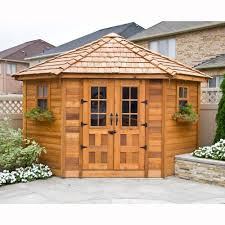 Lifetime Products Gable Storage Shed 7x7 by 9 Ft X 9 Ft Penthouse Cedar Garden Shed Browns Tans Backyard