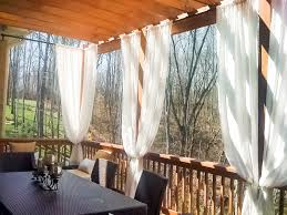 Outdoor Dining Room With Sunbrella Drapes In Natural Canvas See Entire Project Houzz Projects 81264 Coastal Meets Cabin