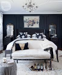 Bedroom Navy WallsDark Furniture
