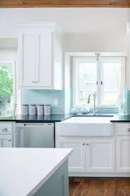 kitchen backsplash blue subway tile