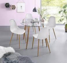 my home essgruppe miller set 5 tlg glastisch mit 4 stühlen kunststoffschale kaufen otto