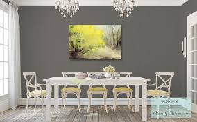 Shabby Chic Gray Dining Room With Yellow Forsythia Canvas Art Style