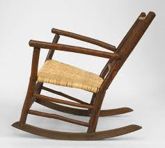 American Rustic Old Hickory Rocking Chair With Spindle Back Design And New Woven Seat