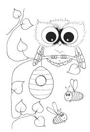Cute Owl With Bees Coloring Pages