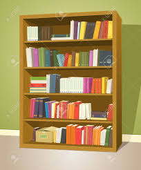illustration of a cartoon home or wooden bookshelf inside