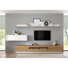 media tv wohnwand in hochglanz weiß mit eiche hell dekor chur 61 lowbo