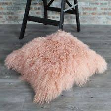 2016 Light Pink Mongolian Fur Pillow Cover Fur Cushion Cover