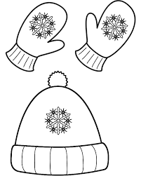 This Winter Hat And Mittens Coloring Page Features A Picture Of With Snowflakes To Color The Is Printable Can Be
