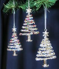 Where To Buy Christmas Tree Tinsel Icicles by Amazon Com Glass Christmas Tree Ornaments Set Of 3 Xmas Trees