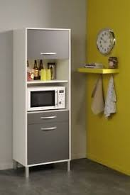 details zu küchenschrank hochschrank mikrowellenschrank schrank küche weiss grau neu