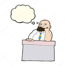 ennui au bureau dessin animé homme s ennuie au bureau avec la bulle de pensée