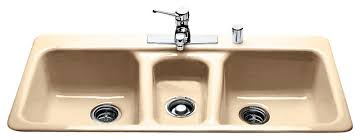 triple bowl self rimming contemporary kitchen sinks by