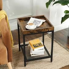 vasagle beistelltisch nachttisch kleiner sofatisch mit gitterablage tablett schlafzimmer wohnzimmer einfacher aufbau stabil industriestil