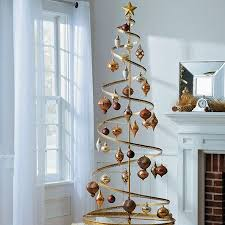 Spiral Metal Christmas Ornament Display Tree Holiday Decor In Gold Black