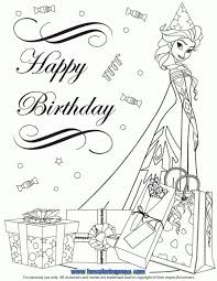 Frozen Cast Elsa In Party Hat Coloring Page