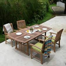 Caterina 5 Pcs Teak Extendable Table Dining Set With Cushions Patio Furniture