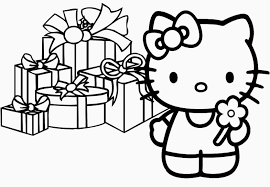 Presents Hello Kitty Christmas Coloring Pages Printable