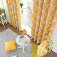 Moroccan Lattice Curtain Panels by Yellow Moroccan Tile Printed Room Darkening Grommet Curtains