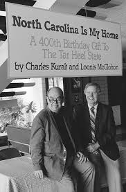 Charles Kuralt Left And Loonis McGlohon Posing Under Sign In Charlottes Ovens Auditorium At