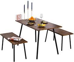 homcom essgruppe mit 2 stühlen industriestil esszimmergarnitur sitzgruppe tischgruppe braun schwarz 120x70x75 cm tisch 90x35x45 5 cm bank