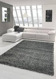 shaggy teppich hochflor langflor teppich wohnzimmer teppich gemustert in uni design grau größe 67 cm rund