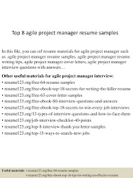 100 Agile Resume Top 8 Agile Project Manager Resume Samples