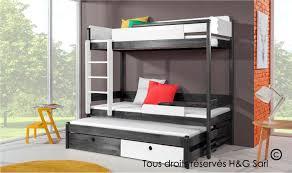 lit enfant superposé gris graphite en bois massif avec 3 couchages