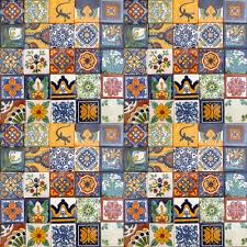 100 painted talavera mexican tiles 2 x2 casa daya